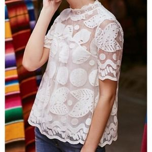 Anthropologie HD in Paris lemon Lilly lace Blouse